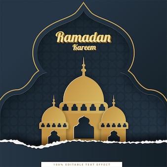 Fondo islámico de ramadan kareem con estilo de corte de papel azul oscuro dorado
