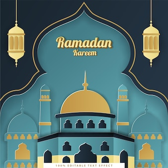Fondo islámico de ramadan kareem con estilo de corte de papel azul oscuro tosca
