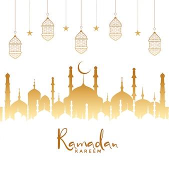 Fondo islámico de ramadán kareem con mezquita y lámparas