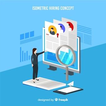 Fondo isométrica contratación