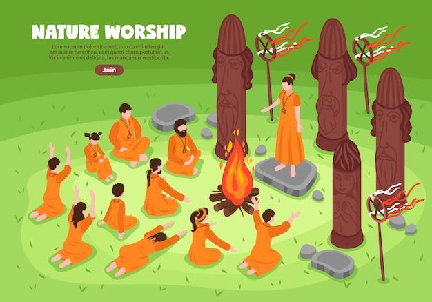 Fondo isométrico de adoración de la naturaleza