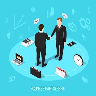Fondo isométrico de la asociación de negocios
