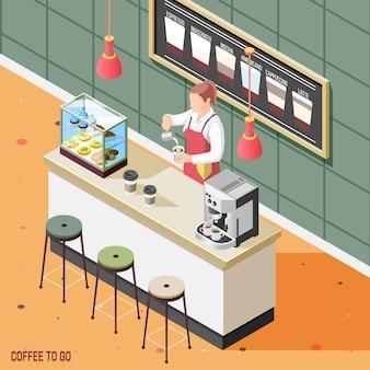 Fondo isométrico de café callejero