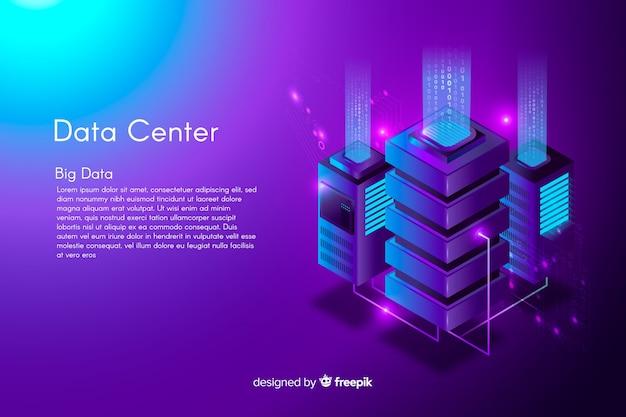 Fondo isométrico del centro de datos