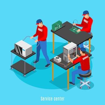 Fondo isométrico del centro de servicio con vista de personas que realizan reparaciones de equipos informáticos y productos electrónicos de consumo