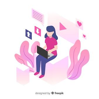 Fondo isométrico chica joven usando dispositivo tecnológico