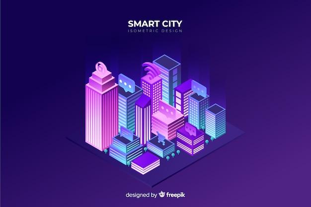Fondo isométrico ciudad futurista de noche
