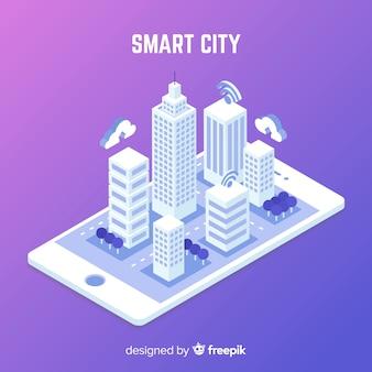 Fondo isometrico ciudad inteligente