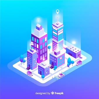 Fondo isométrico ciudad inteligente