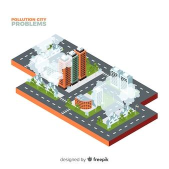 Fondo isométrico concepto ciudad contaminada