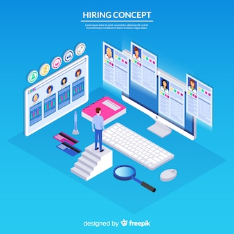 Fondo isométrico concepto contratación