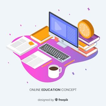 Fondo isométrico concepto educación online