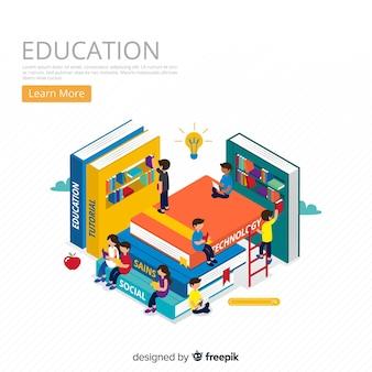 Fondo isométrico concepto educación