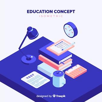 Fondo isométrico concepto de educación