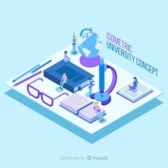 Fondo isométrico concepto de universidad