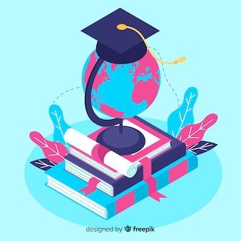 Fondo isométrico concepto universitario