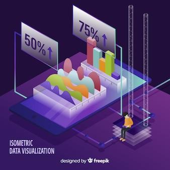 Fondo isométrico concepto visualización de datos