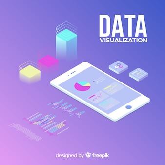Fondo isometrico concepto visualización de datos