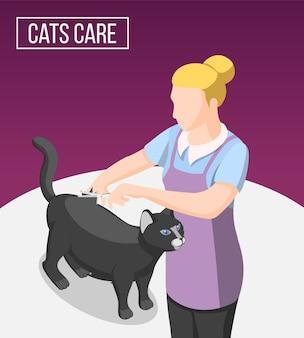 Fondo isométrico de cuidado de gatos con mujer en delantal durante el aseo del animal doméstico