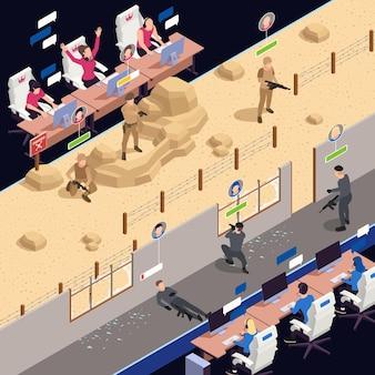 Fondo isométrico de cyber sport con ilustración de símbolos de juegos en línea