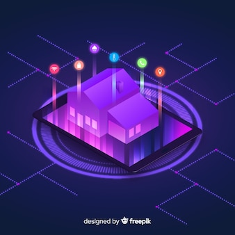 Fondo isométrico degradado de casa inteligente