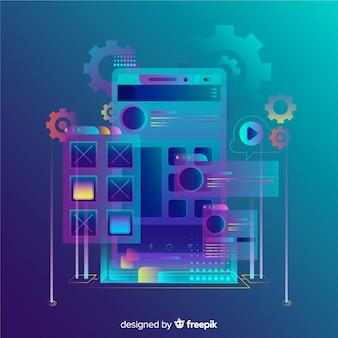 Fondo isométrico degradado móvil 3d