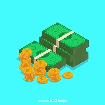 Fondo isométrico dinero