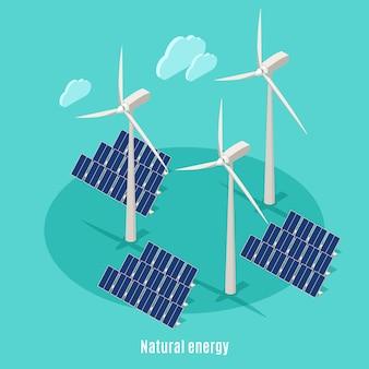 Fondo isométrico de ecología urbana inteligente con texto e imágenes de molinos de viento, torres de turbinas y baterías solares