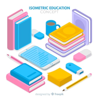 Fondo isométrico de educación