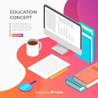 Fondo isométrico educación