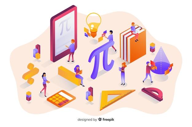 Fondo isométrico elementos matemáticas