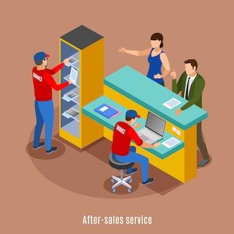 Fondo isométrico con entorno de oficina de salida de regalo de punto de recogida con muebles de texto y personajes humanos