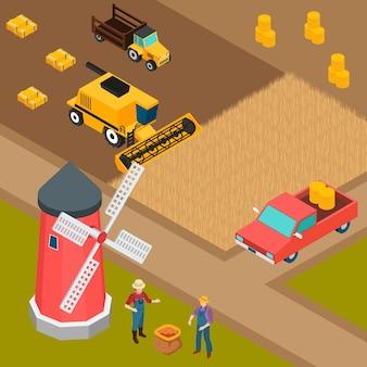 Fondo isométrico de granja
