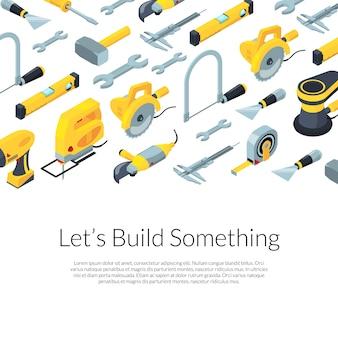 Fondo isométrico de herramientas de construcción con plantilla de texto