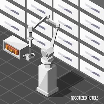 Fondo isométrico de hoteles robotizados
