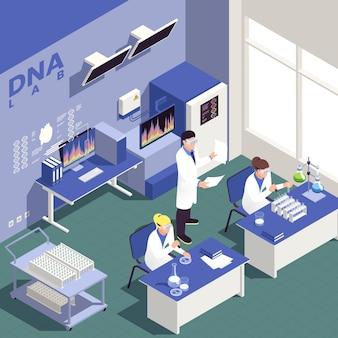 Fondo isométrico de ingeniería genética con ilustración de símbolos de ciencia e investigación