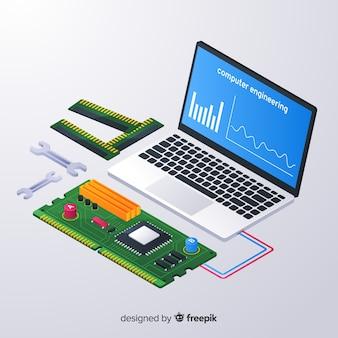 Fondo isométrico ingeniería informática