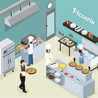 Fondo isométrico interior de cocina profesional