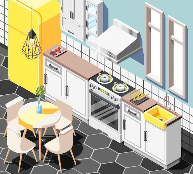 Fondo isométrico interior loft con vista interior de la cocina moderna con muebles, gabinetes, refrigerador y mesa