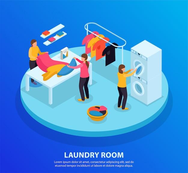 Fondo isométrico de la lavandería con texto editable y plataforma circular con personajes humanos y ropa de lavado