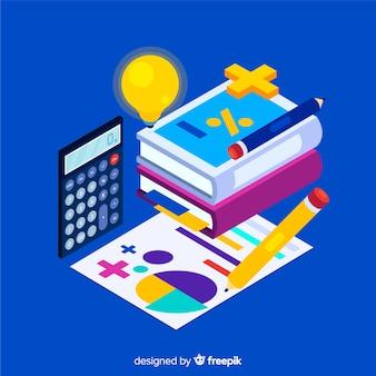 Fondo isométrico material matemáticas