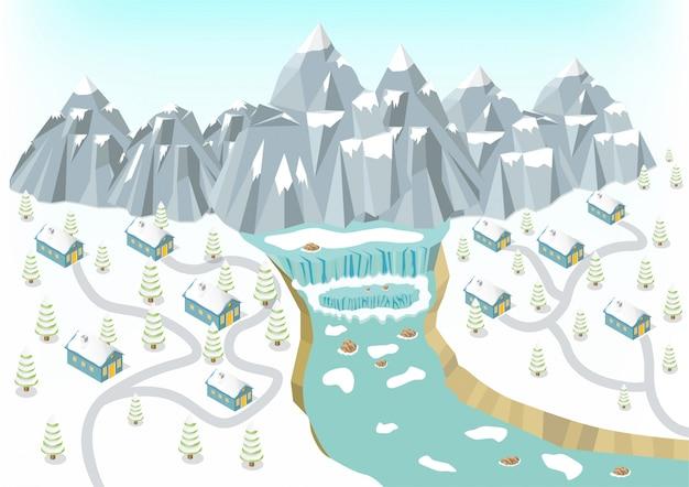 Fondo isométrico de montañas de invierno