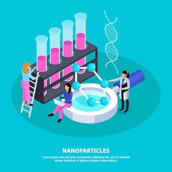 Fondo isométrico de nanopartículas