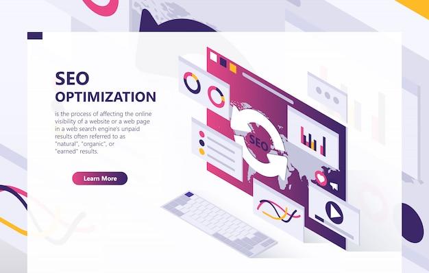 Fondo isométrico de optimización seo