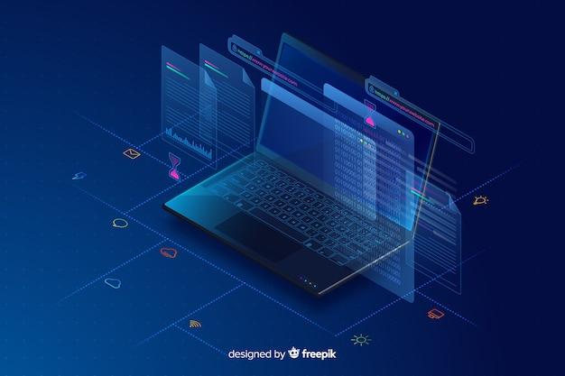 Fondo isométrico de ordenador portátil en degradado