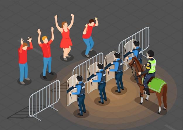 Fondo isométrico de policía y personas