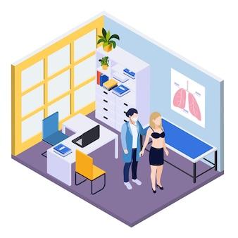 Fondo isométrico de pruebas médicas con el médico escuchando los pulmones del paciente en la ilustración del consultorio médico