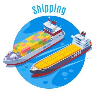 Fondo isométrico de puerto redondo con dos barcos logísticos en azul cariñoso y gran titular de envío