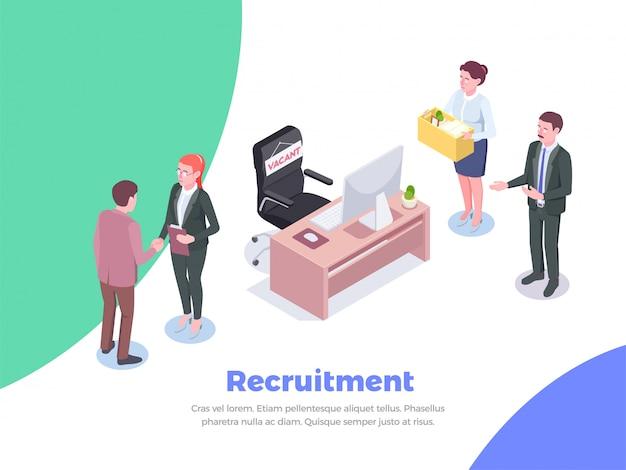Fondo isométrico de reclutamiento con texto editable y caracteres humanos de candidatos de trabajo e ilustración de trabajadores ejecutivos de oficina