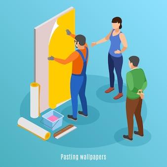 Fondo isométrico de reparación del hogar con papel tapiz de trabajador pegando y pareja familiar supervisando la ilustración del trabajo de reparación